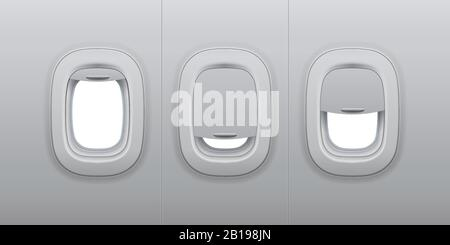 Aircraft windows. Airplane indoor portholes, plane interior window and fuselage glass porthole 3d vector illustration - Stock Photo