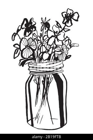 Hand drawn diffrent flowers in mason jar. Vector illustration. Coloring page. - Stock Photo