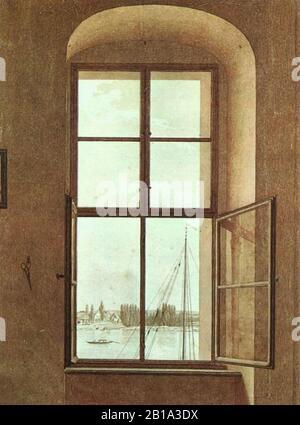 Caspar David Friedrich - Blick aus dem Fenster des Künstlers.