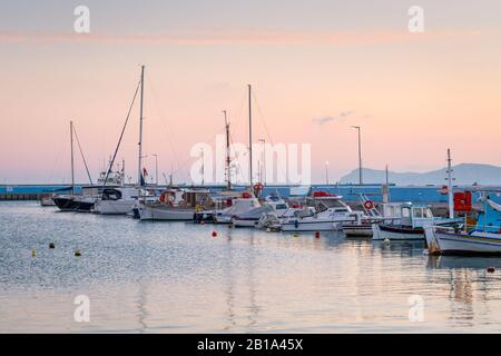Sitia, Crete - January 23, 2020: Boats in the harbour of Sitia town, Crete. - Stock Photo