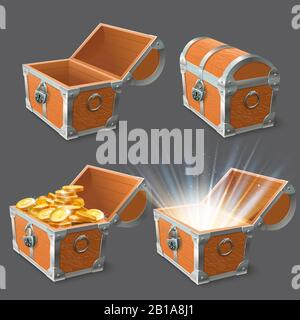 Wooden chest. Treasure coffer, old shiny gold case and lock closed or open empty chests 3d vector illustration set - Stock Photo