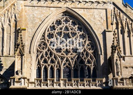 Exterior Detail of the Elaborate West Front Window and Stonework of Exeter Cathedral, Exeter, Devon, England. - Stock Photo