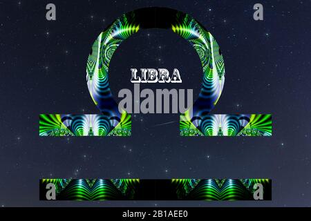 A composite image of the zodiac sign for Libra created in fractal art set against a starry night sky. - Stock Photo