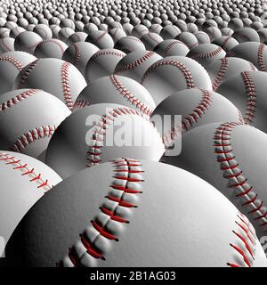 Baseball ball. Balls stretching into distance. Close up studio still life. Clean, new with no branding. - Stock Photo