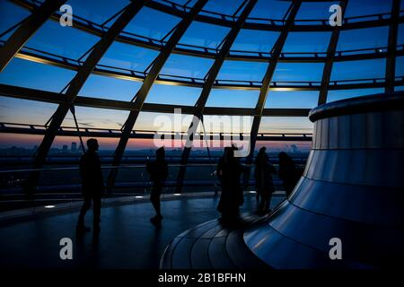 The Reichstag at sunset in Berlin - Stock Photo