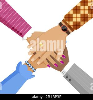 Women and men hands cooperation. Diverse group of people with different skin color putting arms together vector flat illustration. Teamwork, unity, agreement and partnership cartoon concept. - Stock Photo