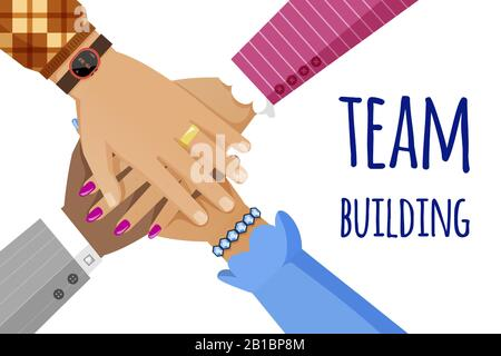 Team building vector banner template. Top view of different skin color and diverse races people hands putting together. Teamwork, cooperation, unity flat concept with typography. - Stock Photo