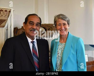 FSM President Peter M. Christian and US Interior Secretary Sally Jewell. - Stock Photo