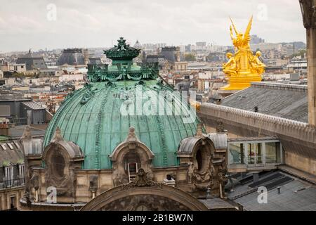 Paris Opera house building scene from Galeries Lafayette rooftop Paris France - Stock Photo