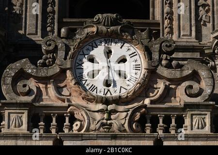 Ancient clock on Berenguela tower of Santiago de Compostela Cathedral