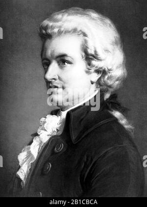 Vintage portrait of composer Wolfgang Amadeus Mozart (1756 – 1791). Print circa 1913 by Eugene A Perry. - Stock Photo
