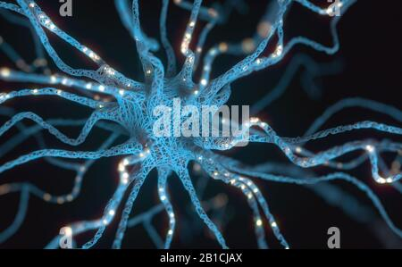 Conceptual image of a neuron energized with electric charge. Concept of science and research of the human brain, 3D illustration. - Stock Photo