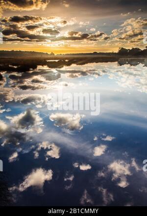 clouds reflecting in a high peat in Delleboersterheide, Netherlands, Frisia, Delleboersterheide, Oldeberkoop