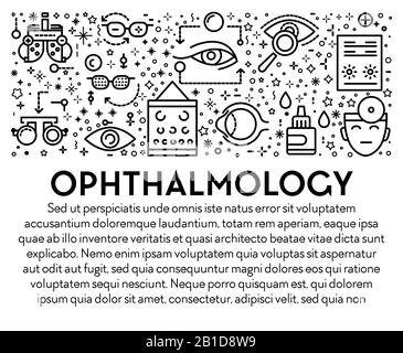Ophthalmology banner with eyesight check up linear icons and text - Stock Photo