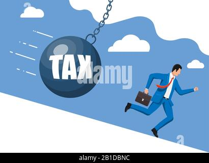 Businessman running away from huge tax pendulum. - Stock Photo