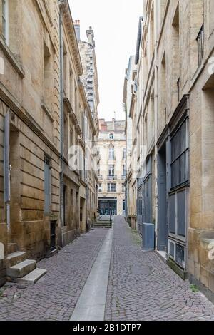 Bordeaux, beautiful french city, typical pedestrian street in the center