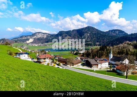 Beautiful view on lake Thiersee,  alps mountains., blue sky, clouds. Austria, Tyrol, Tirol nearby Kufstein. Border with Bavaria, Germany, - Stock Photo