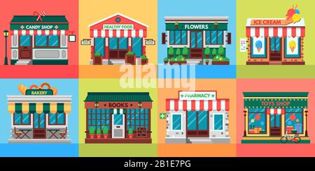 Local shops facades. Grocery shop doors, old boutique store building front and retail stores facade flat vector set - Stock Photo