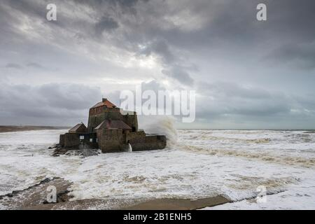 Fort d'Ambleteuse during storm Ciara, February 2020, Hauts de France, France - Stock Photo