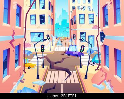 Damaged city street. Earthquake damage, cataclysm damages road destruction and destroyed urban crossroad cartoon vector illustration