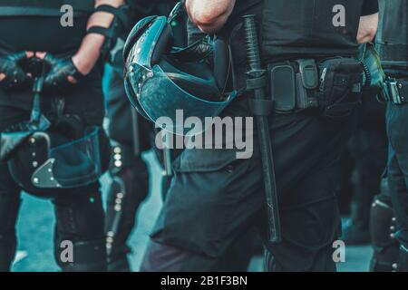 police officers in full combat uniform - Stock Photo