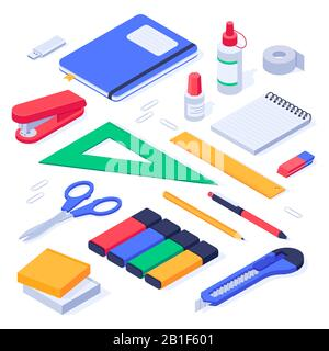 Isometric office supplies. School stationery tools, pencil eraser and pens 3d vector set - Stock Photo