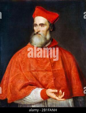 Cardinal Pietro Bembo (1470-1547), Italian Scholar, portrait painting by Titian, circa 1540 - Stock Photo