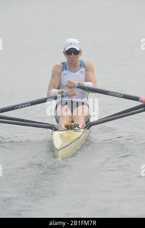 Shunyi, CHINA.  Start of a heat of the women's single sculls USA W1X, Michelle GUERETTE, at the 2008 Olympic Regatta,  Saturday, 09.08.2008  [Mandatory Credit: Peter SPURRIER, Intersport Images] - Stock Photo