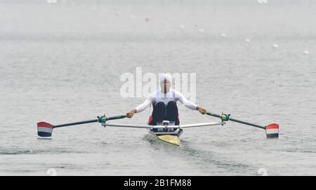 Shunyi, CHINA. EGY W1X,  Heba AHMED, moves away from the start in her heat of the women's single sculls at the 2008 Olympic Regatta,  Saturday, 09.08.2008  [Mandatory Credit: Peter SPURRIER, Intersport Images] - Stock Photo