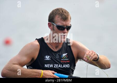 Shunyi, CHINA. NZL M1X,  Mahe DRYSDALE, moves away from the start in his heat of the men's single sculls at the 2008 Olympic Regatta,  Saturday, 09.08.2008  [Mandatory Credit: Peter SPURRIER, Intersport Images], Weed - Stock Photo