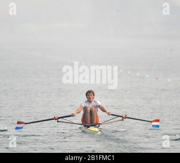 Shunyi, CHINA. NED M1X, Sjoerd HAMBURGER, moves away from the start in his heat of the men's single sculls at the 2008 Olympic Regatta,  Saturday, 09.08.2008  [Mandatory Credit: Peter SPURRIER, Intersport Images] - Stock Photo
