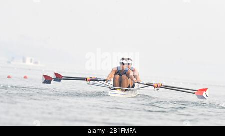 Shunyi, CHINA.  Start of a heat of a heat of the men's Double Scull, USA M2X Bow, , at the 2008 Olympic Regatta,  Saturday, 09.08.2008  [Mandatory Credit: Peter SPURRIER, Intersport Images] - Stock Photo