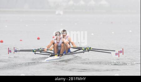 Shunyi, CHINA.  Heat of the Lightweight men's double sculls, GBR LM2X, Bow, Zac PURCHASE and Mark HUNTER, move away from the start, at the 2008 Olympic Regatta, Shunyi Rowing Course. Sunday 10.08.2008  [Mandatory Credit: Peter SPURRIER, Intersport Images] - Stock Photo