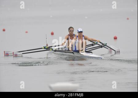 Shunyi, CHINA.  Heat of the Lightweight women's double sculls, GBR LW2X, Bow, Hester GOODSELL and Helen CASEY, move away from the start, at the 2008 Olympic Regatta, Shunyi Rowing Course. Sunday 10.08.2008  [Mandatory Credit: Peter SPURRIER, Intersport Images] - Stock Photo