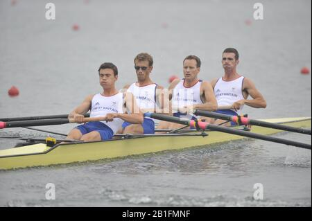Shunyi, CHINA.  Heat of the Lightweight men's four, GBR LM4-, Bow, Richard CHAMBERS, James LINDSAY FYNN, Paul MATTICK and James CLARK, move away from the start, at the 2008 Olympic Regatta, Shunyi Rowing Course. Sunday 10.08.2008  [Mandatory Credit: Peter SPURRIER, Intersport Images] - Stock Photo