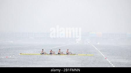 Shunyi, CHINA.  Heat of the Men's Quads, USA. M4X,    Bow, Matthew HUGHES, Sam STITT, Jamei SCHROEDER and Scott GAULT, move away from the start, at the 2008 Olympic Regatta, Shunyi Rowing Course. Sunday 10.08.2008  [Mandatory Credit: Peter SPURRIER, Intersport Images] - Stock Photo