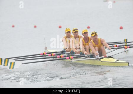 Shunyi, CHINA.  Heat of the Men's Quads, AUS M4X,    move away from the start, at the 2008 Olympic Regatta, Shunyi Rowing Course. Sunday 10.08.2008  [Mandatory Credit: Peter SPURRIER, Intersport Images] - Stock Photo