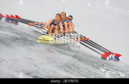 Shunyi, CHINA.  Heat of the Men's Quads, USA. M4X,    Bow, Matthew HURGES, Sam STITT, Jamei SCHROEDER and Scott GAULT, move away from the start, at the 2008 Olympic Regatta, Shunyi Rowing Course. Sunday 10.08.2008  [Mandatory Credit: Peter SPURRIER, Intersport Images] - Stock Photo