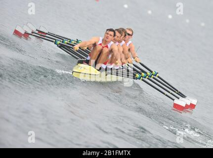 Shunyi, CHINA.  Heat of the Men's Quads, POL. M4X,    move away from the start, at the 2008 Olympic Regatta, Shunyi Rowing Course. Sunday 10.08.2008  [Mandatory Credit: Peter SPURRIER, Intersport Images] - Stock Photo