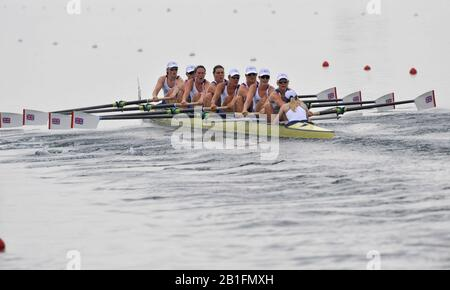 Shunyi, CHINA.  Start of a heat of the womens eights, GBR W8+, move away from the start pontoon at the 2008 Olympic Regatta, Shunyi Rowing Course. Monday. 11.2008  [Mandatory Credit: Peter SPURRIER, Intersport Images] - Stock Photo