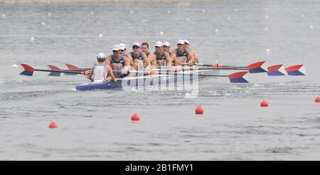Shunyi, CHINA.  Start of a heat of the mens eights, GBR M8+, move away from the start pontoon at the 2008 Olympic Regatta, Shunyi Rowing Course. Monday. 11.2008  [Mandatory Credit: Peter SPURRIER, Intersport Images] - Stock Photo