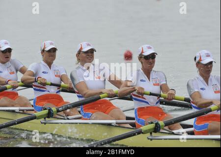 Shunyi, CHINA.  Start of a heat of the women's eights,  NED W8+ move away from the start pontoon. 2008 Olympic Regatta, Shunyi Rowing Course. Monday. 11.08.2008  [Mandatory Credit: Peter SPURRIER, Intersport Images] - Stock Photo