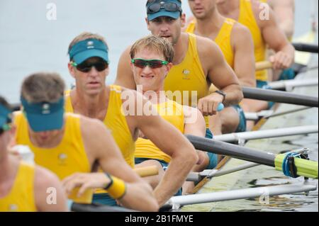 Shunyi, CHINA.  Start of a heat of the men's eights,  AUS M8+  James [Jimmy] TOMKINS the start pontoon. 2008 Olympic Regatta, Shunyi Rowing Course. Monday. 11.08.2008  [Mandatory Credit: Peter SPURRIER, Intersport Images] - Stock Photo