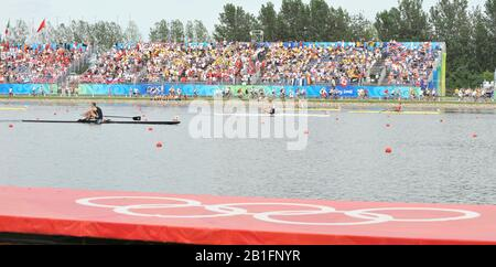 Shunyi, CHINA.  Men's Single scull final   left  NZL M1X. Mahe DRYSDALE, centre CZE M1X and  NOR M1X Olaf TUFTE, crossing the finishing  line,   at the 2008 Olympic Regatta, Shunyi Rowing Course. Saturday  16/08/2008.[Mandatory Credit: Peter SPURRIER, Intersport Images] - Stock Photo