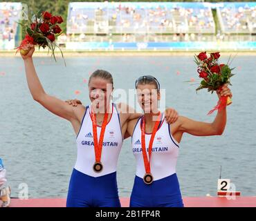 Shunyi, CHINA.   Bronze medalist, GBR W2X, right,  Elise LAVERICK and Anna BEBINGTON, at the 2008 Olympic Regatta, Shunyi Rowing Course.  Sat,.16.08.2008.  [Mandatory Credit: Peter SPURRIER, Intersport Images] - Stock Photo