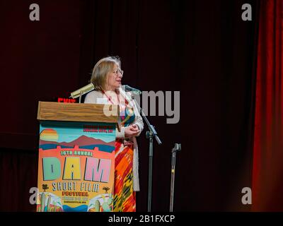 Boulder City, FEB 16: Woman saying something about the Dam Short Film Festival in Boulder theatre on FEB 16, 2020 at Boulder City, Nevada - Stock Photo