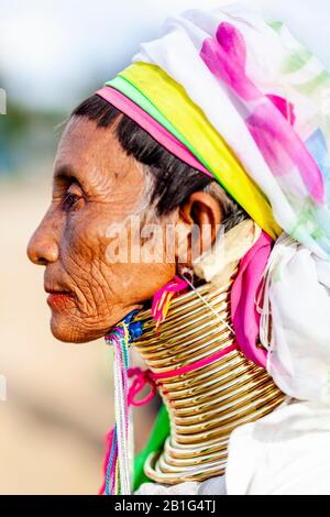A Portrait Of A Woman From The Kayan (Long Neck) Minority Group, Loikaw, Kayah State, Myanmar.
