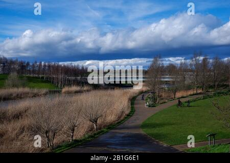 The Northern Parklands in the Queen Elizabeth Olympic Park London  looking along the River Lea - Stock Photo