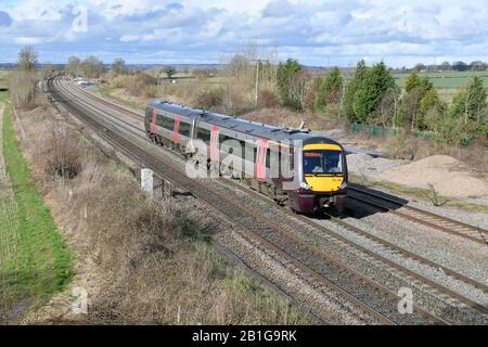Arriva CrossCountry Trains 2-Car Turbostar Diesel Multiple Unit 170114  with 1V10 13:07 Nottingham to Cardiff Central service passing Elford 25/02/20 - Stock Photo