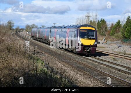 Arriva CrossCountry Trains 3-Car Turbostar Diesel Multiple Unit 170110  with 1V09 12:07 Nottingham to Cardiff Central service passing Elford 25/02/20 - Stock Photo
